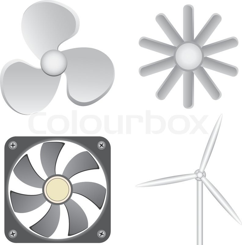Box Fan Clip Art : Different fans isolated on the white background stock