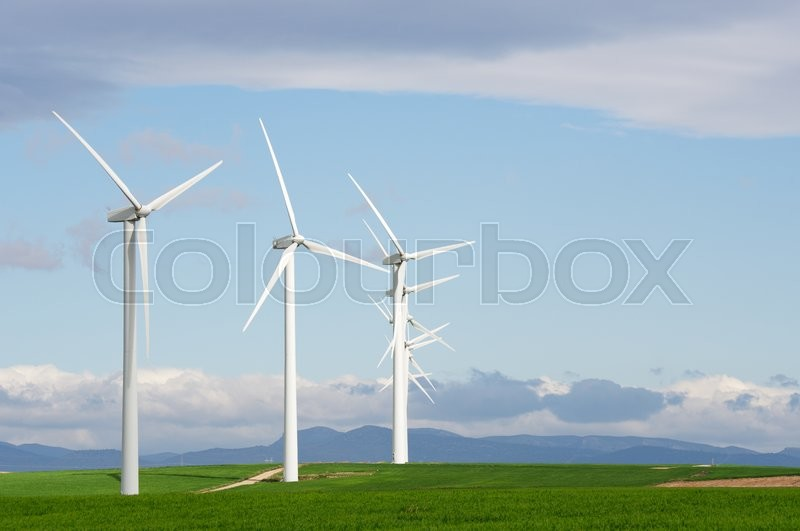 Stock image of 'Windmills for electric power production, Zaragoza Province, Aragon, Spain.'