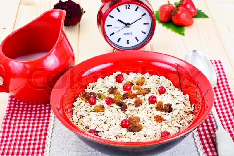 Stock image of 'Oatmeal with Raisins and Cranberries Studio Photo'