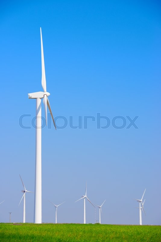 Stock image of 'Windmills for electric power production, Pozuelo de Aragon, Zaragoza, Aragon, Spain'