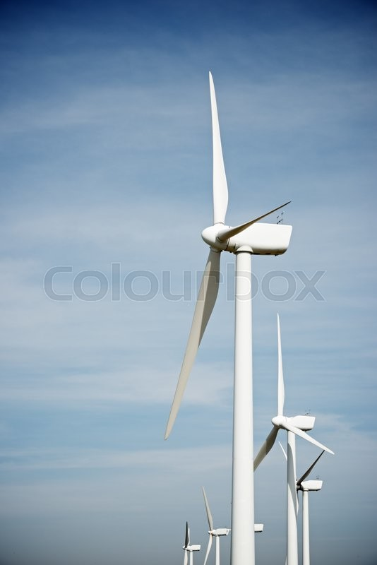 Stock image of 'Windmills for electric power production, Pozuelo de Aragon, Zaragoza, Aragon, Spain.'