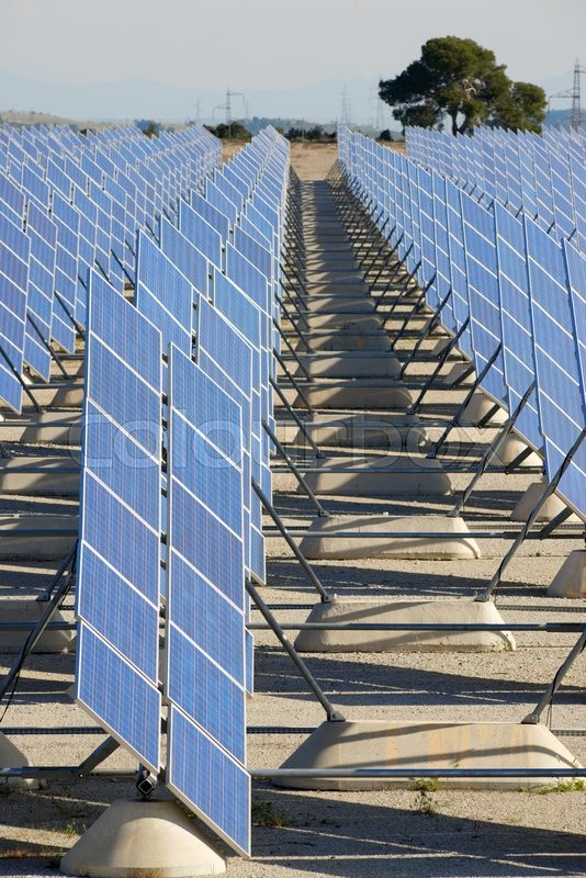 Stock image of 'Photovoltaic panels for renewable electric production, Zaragoza province, Aragon, Spain.'