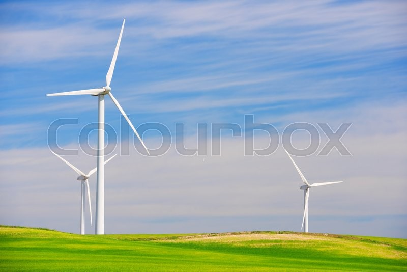 Stock image of 'Windmills for electric power production, Zaragoza province, Aragon, Spain'