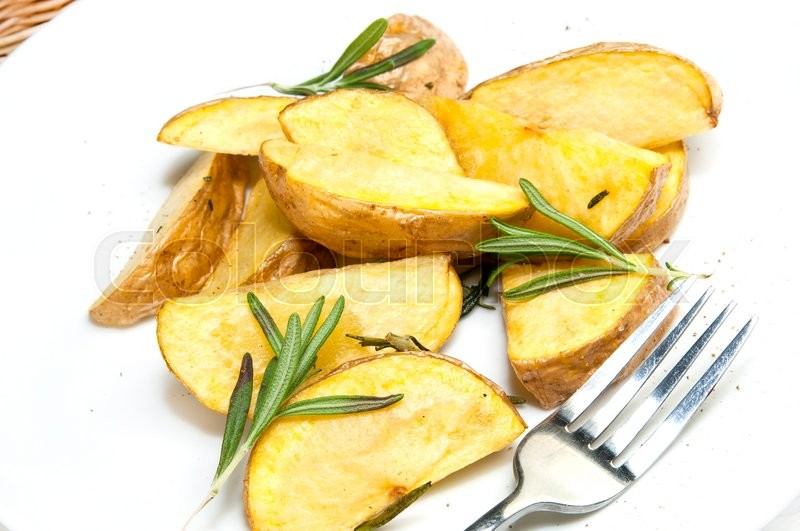 Stock image of 'Fried potatoes on a plate in a restaurant'
