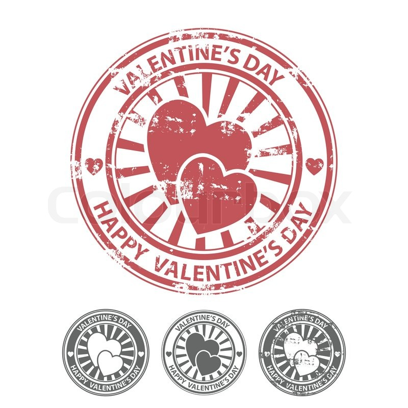 Grunge rubber stamp with two hearts,     | Stock vector | Colourbox