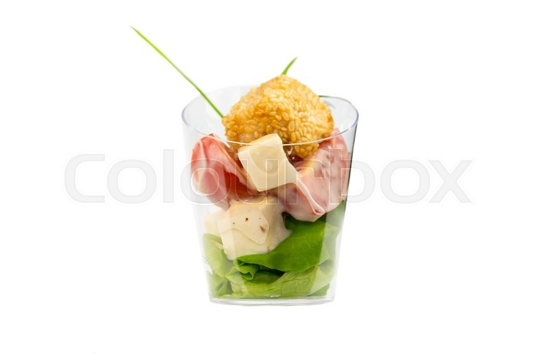 Stock image of 'Mini Canape with meat and vegetables in plastic cups'