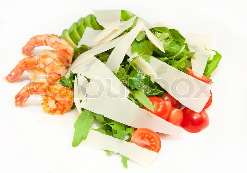 Stock image of 'Shrimp salad greens and avocado cheese and tomatoes'