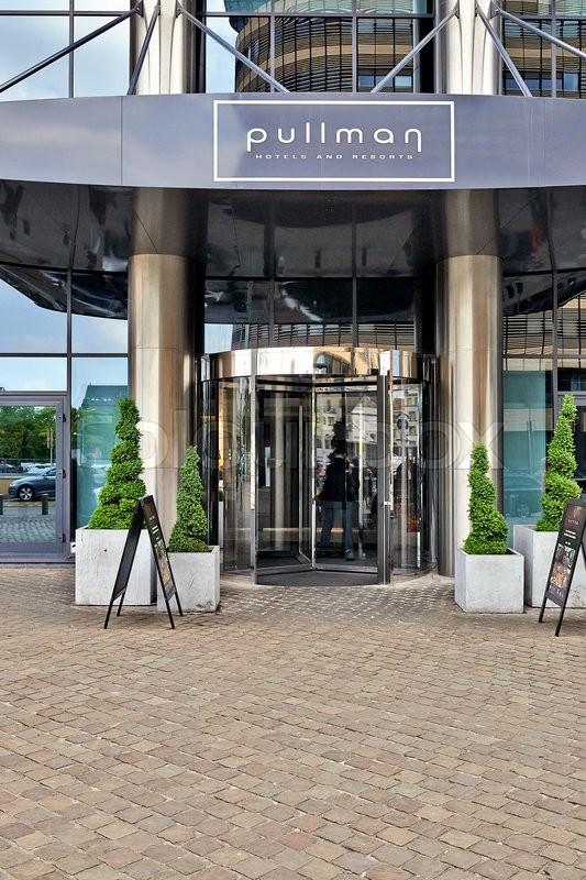 Editorial image of 'BRUSSELS, BELGIUM - 26 MAY 2016: The main entrance and the Glass revolving door at Hotel Pullman in Brussels on 26 May 2016'