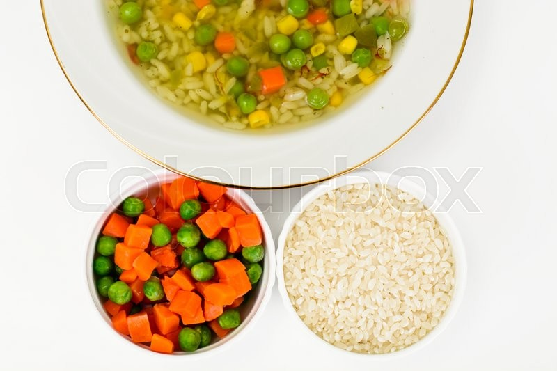 Stock image of 'Soup with Chicken Broth with Rice and Vegetables Studio Photo'