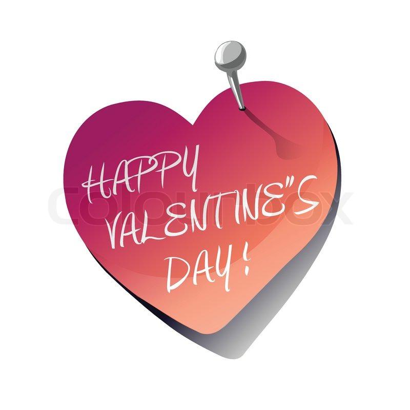 Happy Valentine\'s Day heart sticky note, vector illustration ...