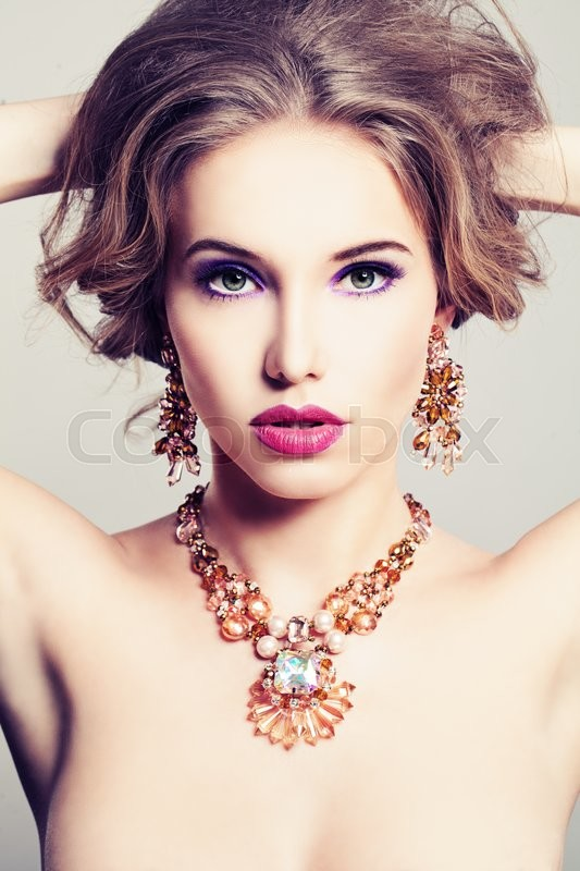 Stock image of 'Pretty Woman. Makeup and Jewelry'