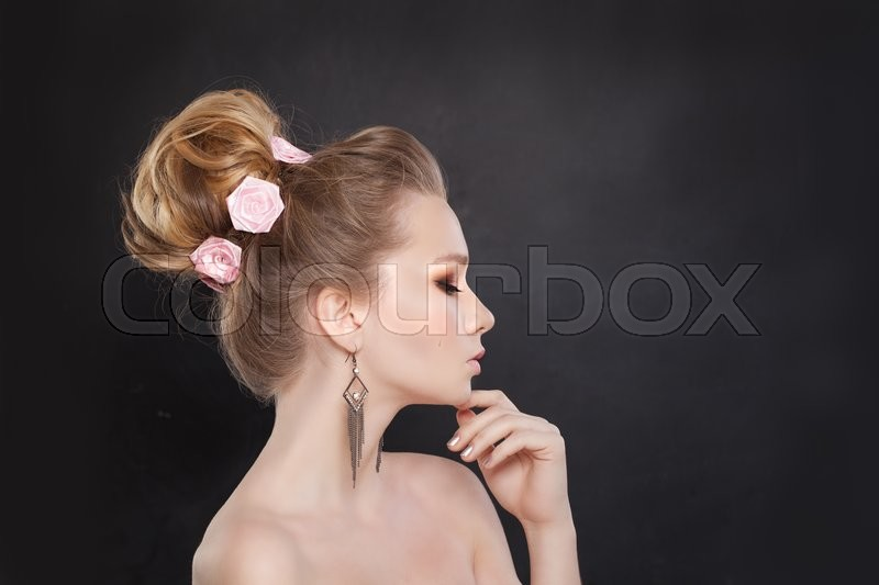 Stock image of 'Beautiful Woman with Bridal Hairstyle. Profile'