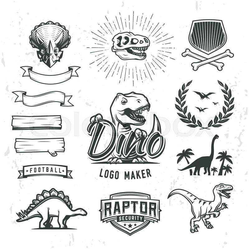 Dino logo maker set. Dinosaur logotype creator. Vector T-rex banner ...