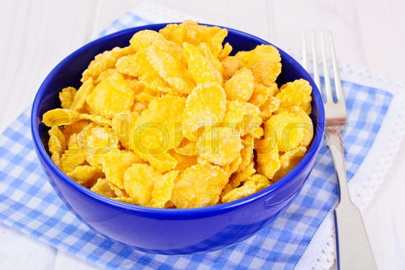 Stock image of 'Cornflakes. Healthy Breakfast Studio Photo'