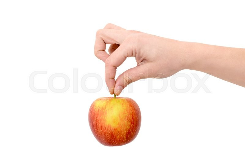 Stock image of 'Female hand holding a red apple on a white background'
