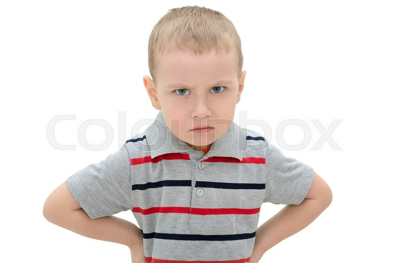 Stock image of 'Angry little boy isolated on white background'