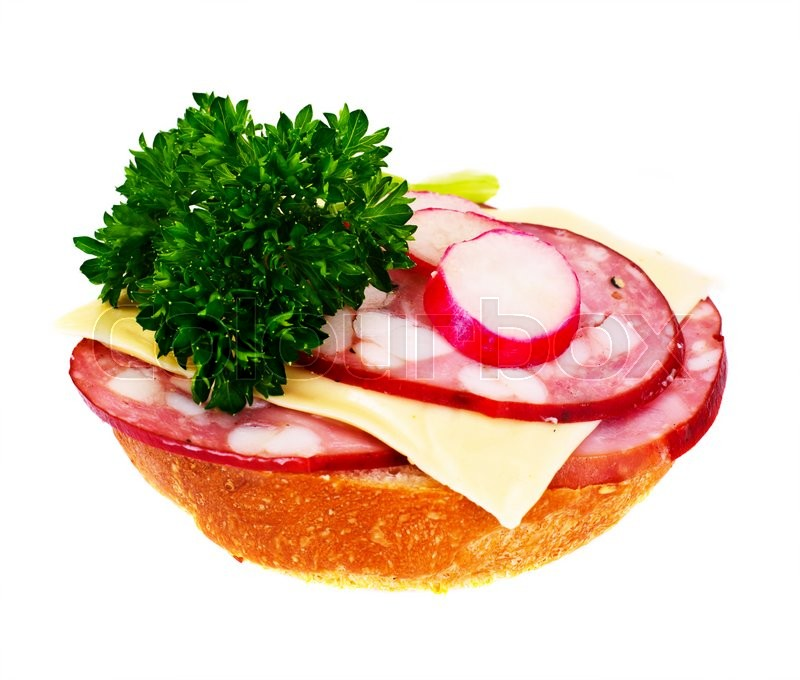 Stock image of 'Sandwich with Mushrooms, Tomato, Cheese, Onion and Radish Studio Photo'