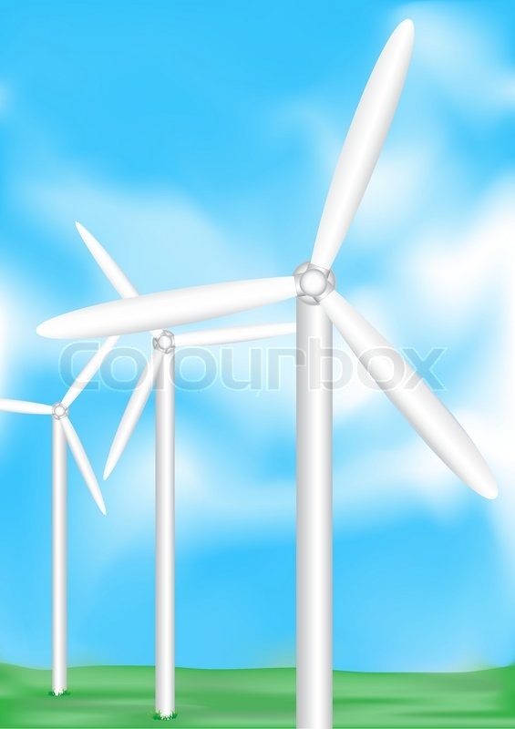 The electric wind-turbine generate pure energy | Vector | Colourbox