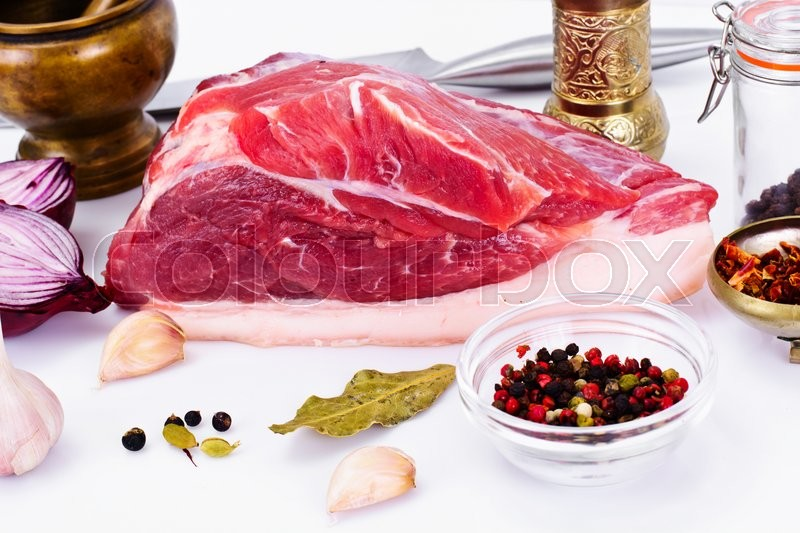 Stock image of 'A Piece of Fresh Raw Pork, Meat Studio Photo'