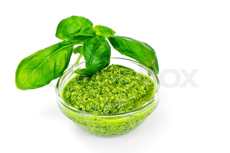 Stock image of 'Pesto Sauce with Basil Studio Photo'
