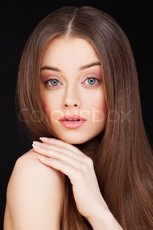 Stock image of 'Pretty Woman with Long Healthy Hairstyle'