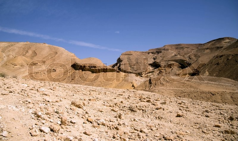 Stock image of 'Hiking in stone desert mountain landscape of Israel'