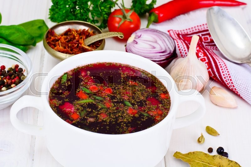 Stock image of 'Healthy Food: Soup with Beets, Green Beans and Vegetables. Studio Photo'