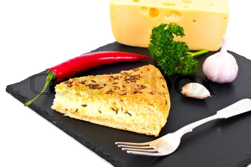 Stock image of 'Georgian National Dish Pie with Cheese and Caraway Khachapuri Studio Photo'