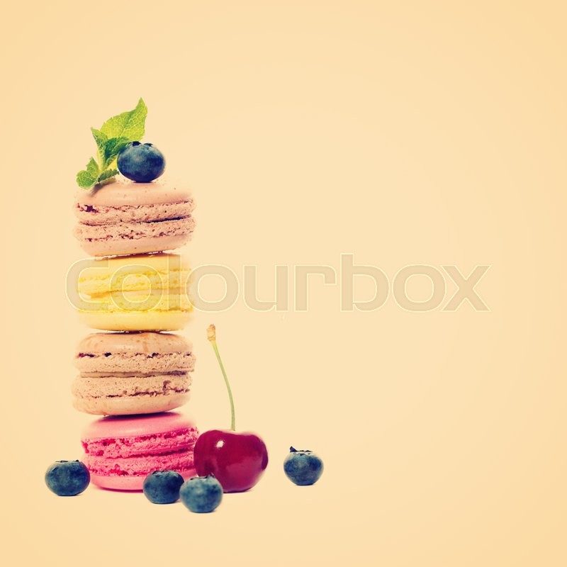 Stock image of 'Sweet Food Background with Macaroons and Berries'