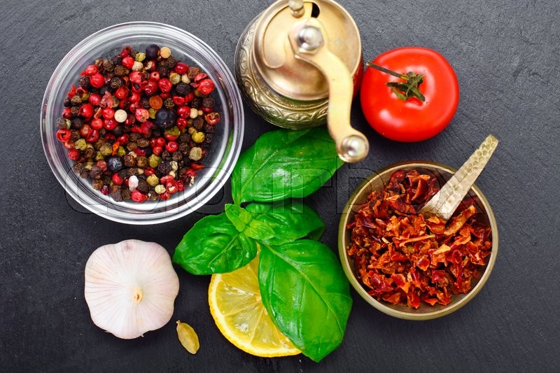 Stock image of 'Tomato, Basil, Pepper and Lemon with Saffron Studio Photo'