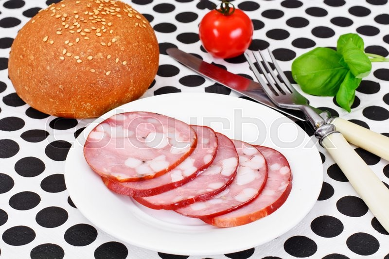 Stock image of 'Barbados Sausage, Ham Studio Photo'