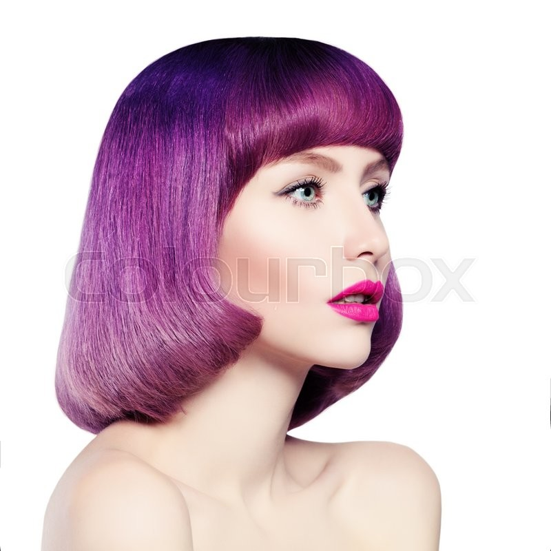 Stock image of 'Fashion Girl with Colored Hair Isolated'