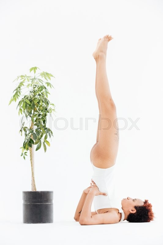 Stock image of 'Beautiful african american young woman exercising and practicing yoga near small tree in pot over white background'