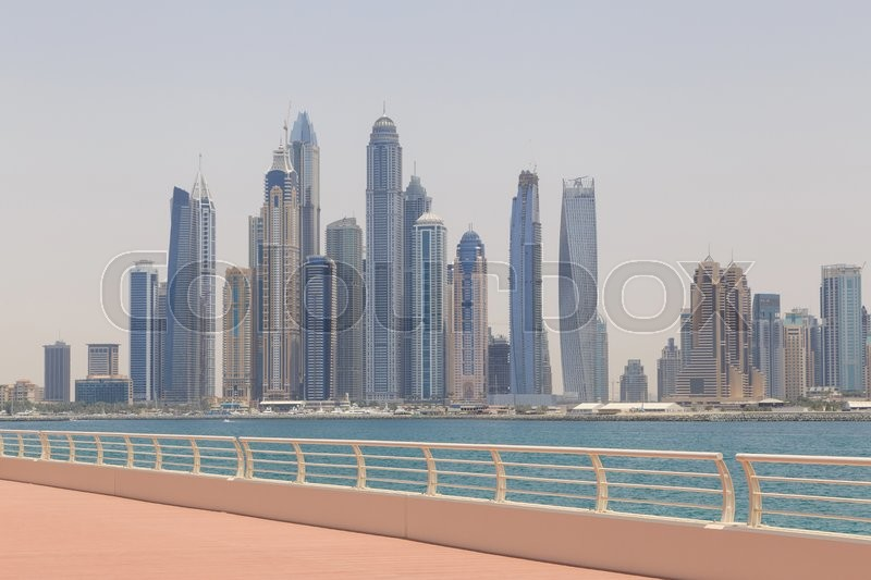 Stock image of 'Cityscape of Dubai from Palm Jumeirah'