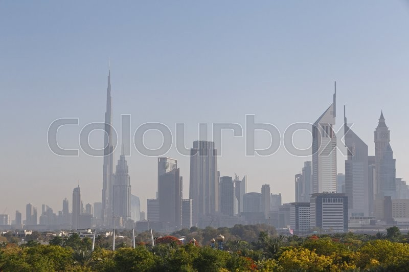 Stock image of 'Cityscape of Dubai Downtown district'