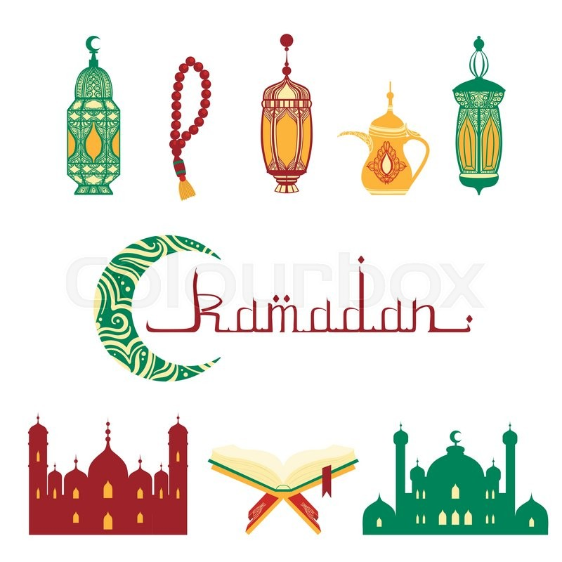 Ramadan Fast Hand Drawn Illustration With Islam Symbols In Detailed Artistic Flat Vector Design On White Background