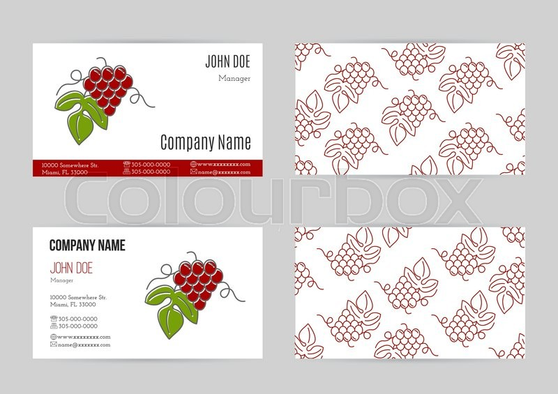 Set of business cards with grapes business card template with logo set of business cards with grapes business card template with logo for restaurant cafe bar or fast food concept for wine making companies and wine reheart Gallery