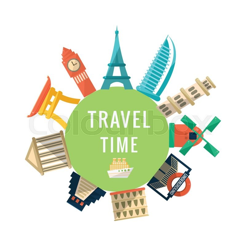 Travel Time Logo With Famous Buildings. World Capitals ...