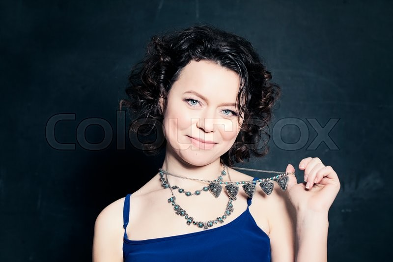 Stock image of 'Mature Beauty. Fashion Woman with Silver Necklace'