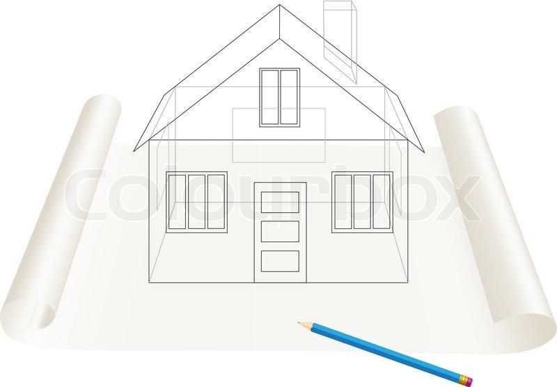 Abstract transparent haus skizze zeichnung mit stift auf for Fachwerkhaus skizze