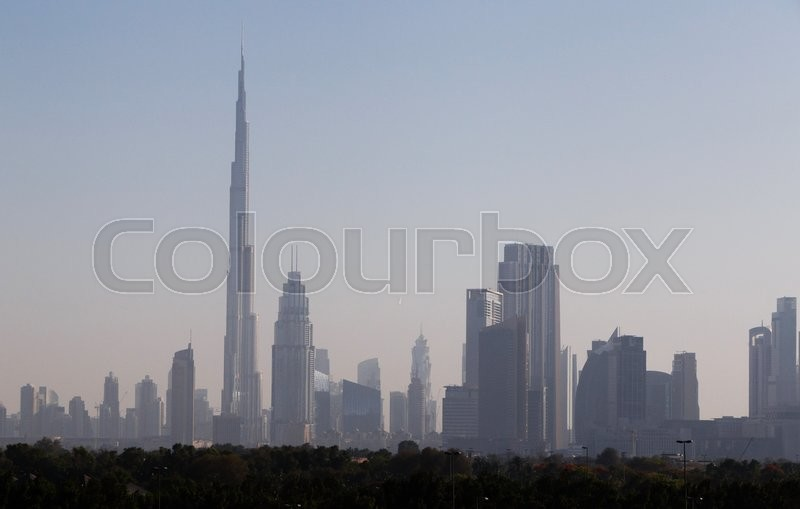 Stock image of 'Cityscape of Downtown District of Dubai'