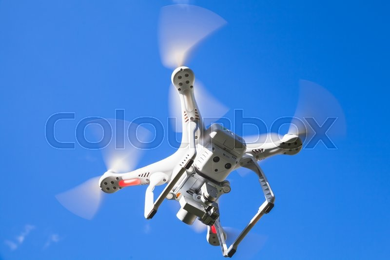 Editorial image of 'St. Petersburg, Russia - May 4, 2016: Drone quadrocopter Phantom 3 Professional with high resolution digital camera designed by Chinese company DJI. Tool for aerial photo and High quality 4K video'