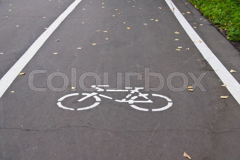 Stock image of 'road markings for bicycle on an road'