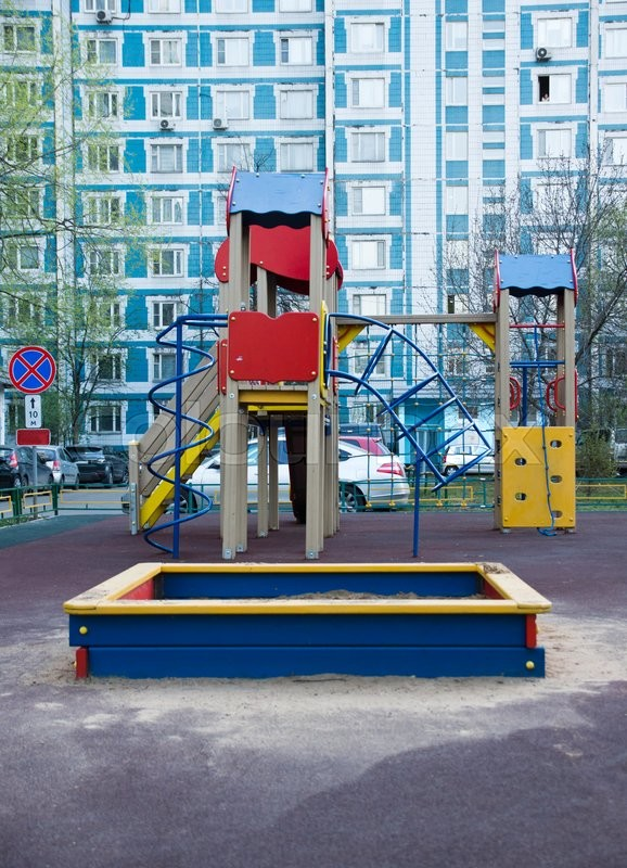 Stock image of 'sandbox and other toys on the playground'