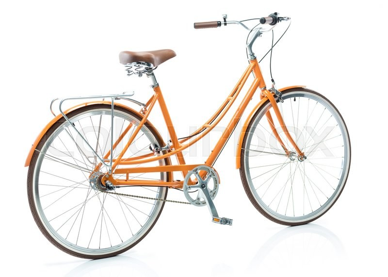 Stock image of 'Stylish womens orange bicycle isolated on white background'