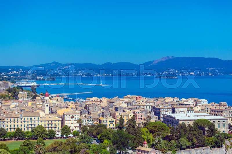Stock image of 'Aerial view from Old fortress on the city with  New Fortress, Kerkyra, Corfu island, Greece'