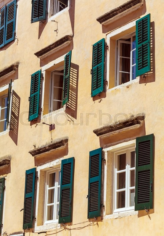 Stock image of 'Typical buildings in old city, Kerkyra, Corfu island, Greece'