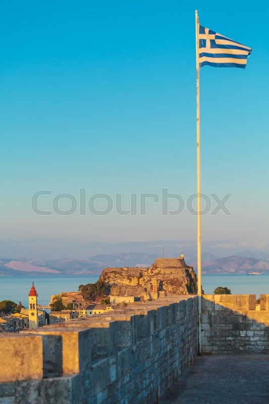 Stock image of 'Aerial view from New fortress on the city before sunset, Corfu'