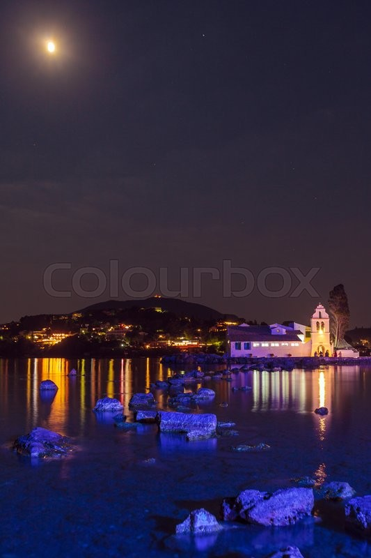 Stock image of 'Illuminated night scene of Vlacherna monastery and Pontikonisi island, Kanoni, Corfu'