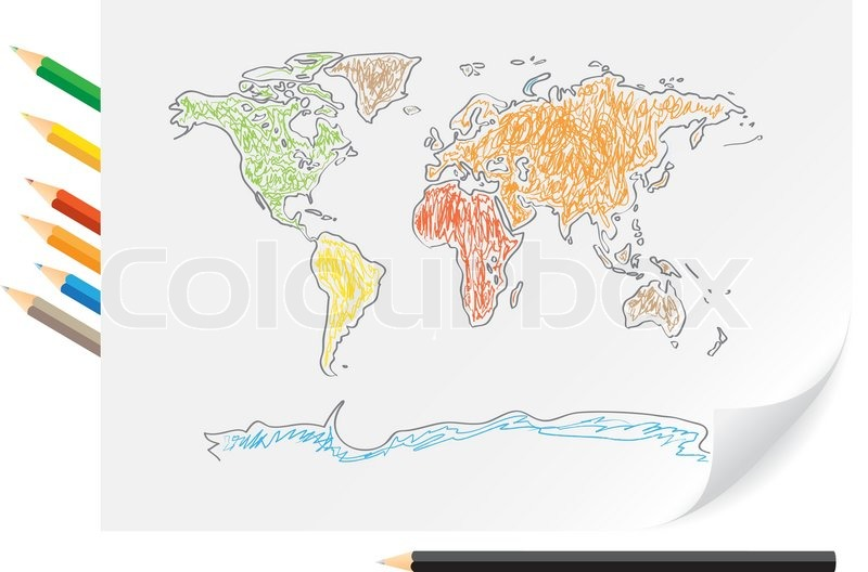 Drawing A World Map. Drawing world map by a color pencils on the white paper  vector Stock